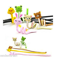 1Pc Cartoon Bear Silicone Earphone Wire USB Cable Cord Winder Organizer Holder