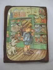 Vintage Print (Boy & Dog In The Candy Shop) On Tile With Wooden Frame Wall Deco