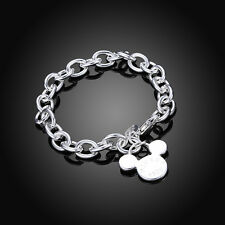 NEW Mickey Mouse 925 Silver Charm Bracelet Cute Bangle For Women Girls Xmas Gift