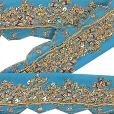 Vintage Sari Border Antique Hand Beaded 1 YD Indian Trim Sewing Maroon Lace