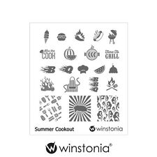 Winstonia Nail Art Stamping Image Plate Summer Cookout Polish Disc New Fun BBQ