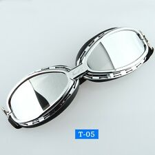 Motorcycle Off Road Riding Goggles Vintage Cruiser UV Glasses Mirror Lens