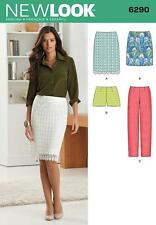 NEW LOOK SEWING PATTERN MISSES' SLIM TROUSERS SKIRT & SHORTS SIZE 4 - 16 6290