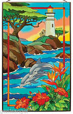 WEST COAST LIGHTHOUSES * DOLPHINS JOAN BAKER PARADISE 16x10 GLASS ART PANEL