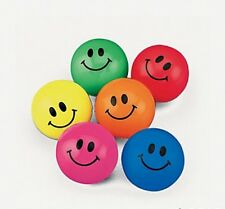 24 PC. NEON SMILE FACE BOUNCING BALLS BOUNCY BALLS SMILEY PARTY FAVORS BIRTHDAY