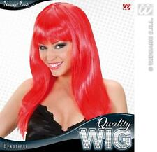Long Red Wig With Fringe Celebrity Lady Gaga Disco Diva Fancy Dress