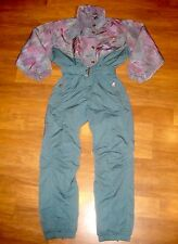 Vtg 80s 90s KAELIN Green WOMENS 4 Onesie Snow SKI Suit BIB Jacket Coat Snowsuit