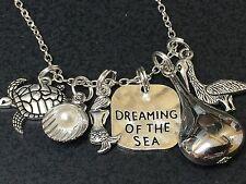 """Beach Surf Mermaid Dream of Sea Charm Tibetan Silver 18"""" Necklace Mix B"""
