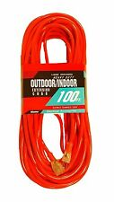100-Ft Extension Cord 12 Gauge Lit End AWG Heavy Duty NEW 12/3 100 Foot Feet