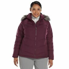 NWT $210 COLUMBIA Purple DOWN Plus Size Hooded Puffer Jacket Coat 2X