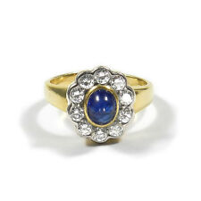 Eleganter Saphir Diamant Ring 750 Gold mit 1 ct Brillanten & Saphircabochon