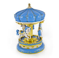 Light Blue with Gold Accent Animated Musical Carousel - Music Box Attic Reg $235
