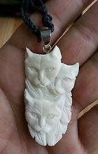 Kitty Cats Family In Buffalo Bone Hand Carved Pendant Sterling Silver Bale D1