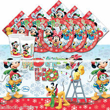 Mickey Mouse Christmas Children's Birthday Complete Party Tableware Pack For 16