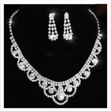 Elegant Alloy Silver Plated Rhinestone Necklace, Earrings Wedding Jewelry Set