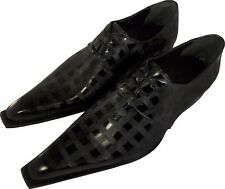 100% CHELSY - ITALIAN TOP DESIGN SHOES HAND MADE CHESS BOARD BLACK 39