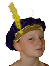 PURPLE & GOLD CHILDS MEDIEVAL/TUDOR STYLE HAT Great Fancy Dress Accessory