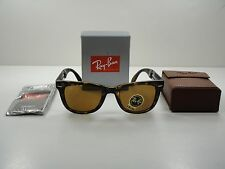 RAY-BAN FOLDING WAYFARER SUNGLASSES RB4105 710 TORTOISE FRAME/BROWN LENS 50MM