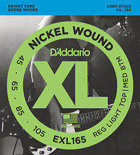 D'ADDARIO EXL165  NICKEL XL BASS STRINGS, LIGHT/MEDIUM GAUGE 4's -  45-105
