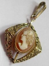 VINTAGE ROLLED GOLD CARVED SHELL CAMEO PENDANT