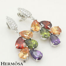 Purple Amethyst,Peridot,Red Garnet,Morganite 925 Sterling Silver Stud Earrings