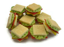 10 Loose Ham Sandwich And  Cheese Dollhouse Miniatures Food Supply Deco