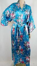 (810106)Blue Ladies Long Silk Satin Feel Kimono Robe Dressing Gown 12-18 UK