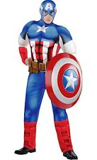 The Avengers Captain America Muscle Adult Costume Marvel Comics Brand New - 956