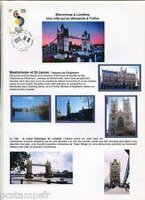 FDC FRANCE/GB, DOCUMENT ENTENTE CORDIALE, MONUMENTS TOWER BRIDGE, 1° jour 6.4.04