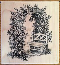 PSX Rose Arbor Trellis & Bench Rubber Stamp K-1792 USA