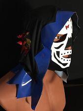 LA PARKA DEATH SKULL!! WRESTLING-LUCHADOR MASK!! Black,white,blue. LA MUERTE!!