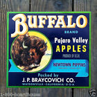 Vintage Original BUFFALO APPLES FRUIT CITRUS Crate Box Label Unused NOS