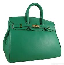 TIMELESS CARBOTTI GREEN BIRKIN INSPIRED 35CM LEATHER HANDBAG WITH LOCK AND KEY