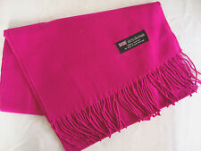 100% Cashmere Winter Scarf Scarve Scotland Warm Solid Hot Pink Shawl Neck NEW