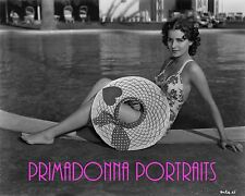 BRENDA MARSHALL 8X10 Lab B&W Photo 1940s SEXY SWIMSUIT & BIG HAT PORTRAIT