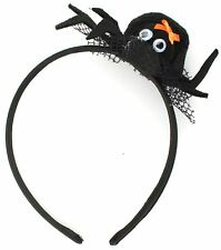Zest 5 Halloween Spider with Bow on a Cobweb Alice Bands Black & Orange