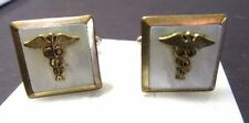CADUCEUS SNAKE MEDICAL CUFFLNKS SYMBOL ON MOTHER OF PEARL SHELL VINTAGE