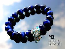Men's Blue Tigers Eye Skull Bracelet with Swarovski Crystal 7-8inch Halloween