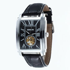 Square Skeleton Automatic Mechanical MENS Woman Wristwatch Luxury Leather Watch