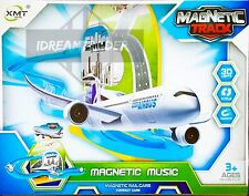 Kids Fun Magnetic Plane Track Playset w/3D Lights & Music - Battery Operated Toy