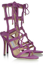 "STUNNING NEW JIMMY CHOO PURPLE SUEDE GLADIATOR $1,195 ""MEDDLE"" CAGED SANDALS"