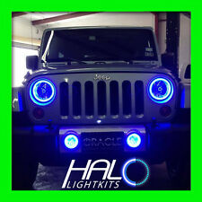 2007-2014 JEEP WRANGLER BLUE PLASMA HALO HEADLIGHT LIGHT KIT 2 Rings by ORACLE