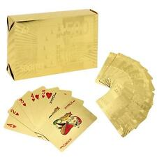 Plastic Waterproof 24K Gold Foil Plated Cover Poker 54 Playing Cards Table Games