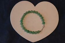 """Beautiful Bracelet With Faceted Round Jade Gemstone 8"""" Inches.Long In Box"""