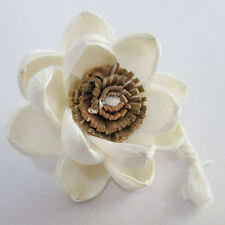 .Big Classic Brown Magnolia Lotus Handmade Flower White Sola Wood Diffuser#SW039