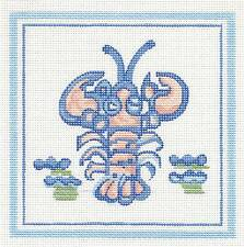 "Silver Needle Hadley Pottery Small Lobster handpainted Needlepoint Canvas 5""x5"""