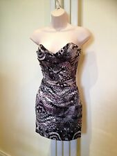 LIPSY Grey Lilac Black Satin Bandeau Strapless Bustier  Dress Size 8 BRAND NEW