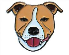 Light Brown Staffordshire Bull Terrier Dog Metal Enamel Staffie Pin Badge 20mm