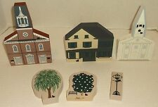 CATS MEOW VILLAGE 6PC LOT 2 CHURCHES MA DE YULE CUPBOARD MD MAIN ST SIGN 2 TREES