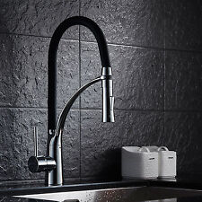 Pull Out Hot/Cold Modern Kitchen Sink Chrome Single Lever Black Spring Mixer Tap